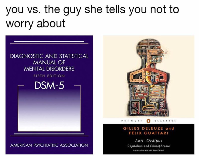 You vs the guy she tells you not to worry about with diagnostic and statistical manual of mental disorders and a visual guide of the same information