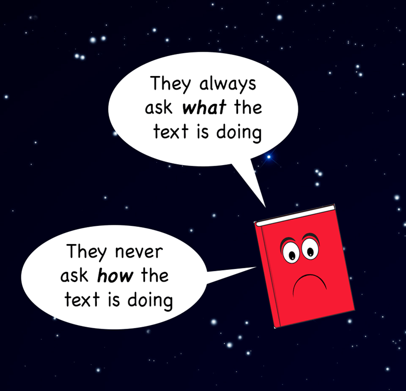 sad book meme about how they never ask HOW the text is doing