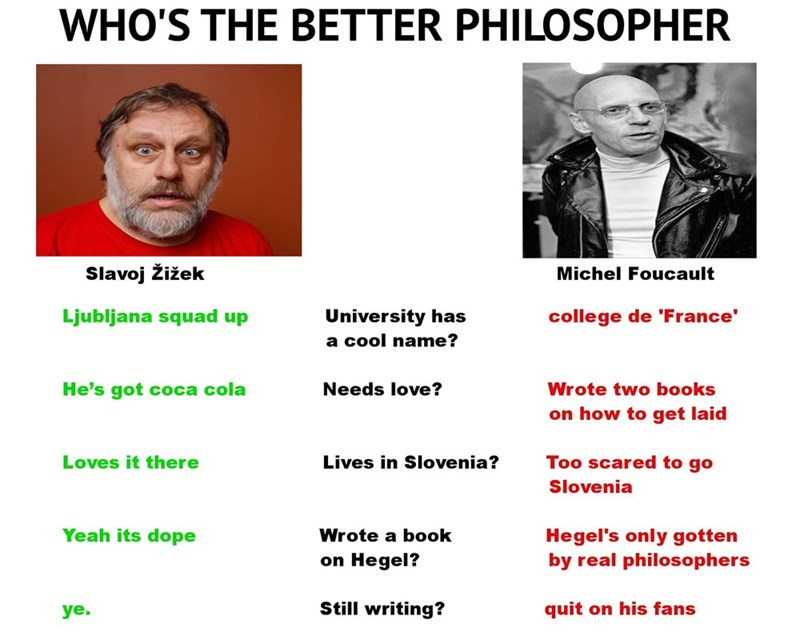 Zizek VS Foucault compared side by side in who is a better philosopher meme