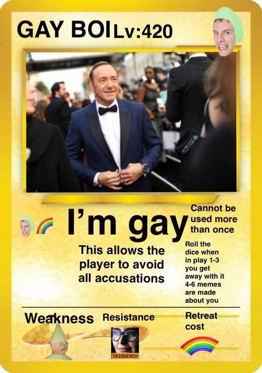 meme image of kevin spacey claiming he is gay to avoid accusations