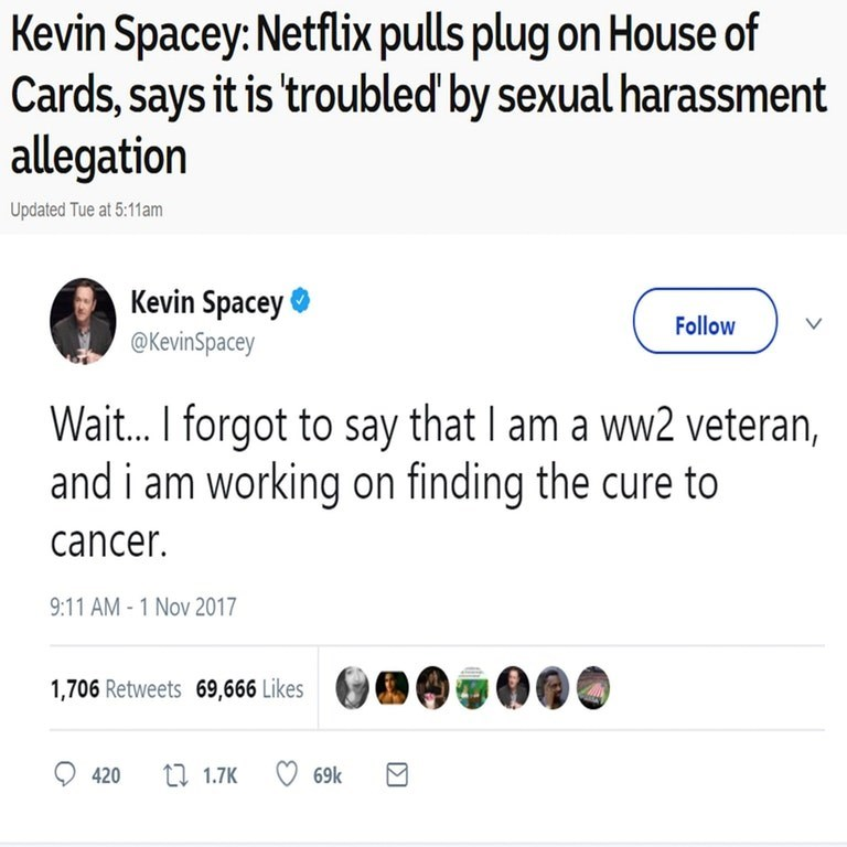 kevin spacey meme tweet about him attempting to claim he is innocent
