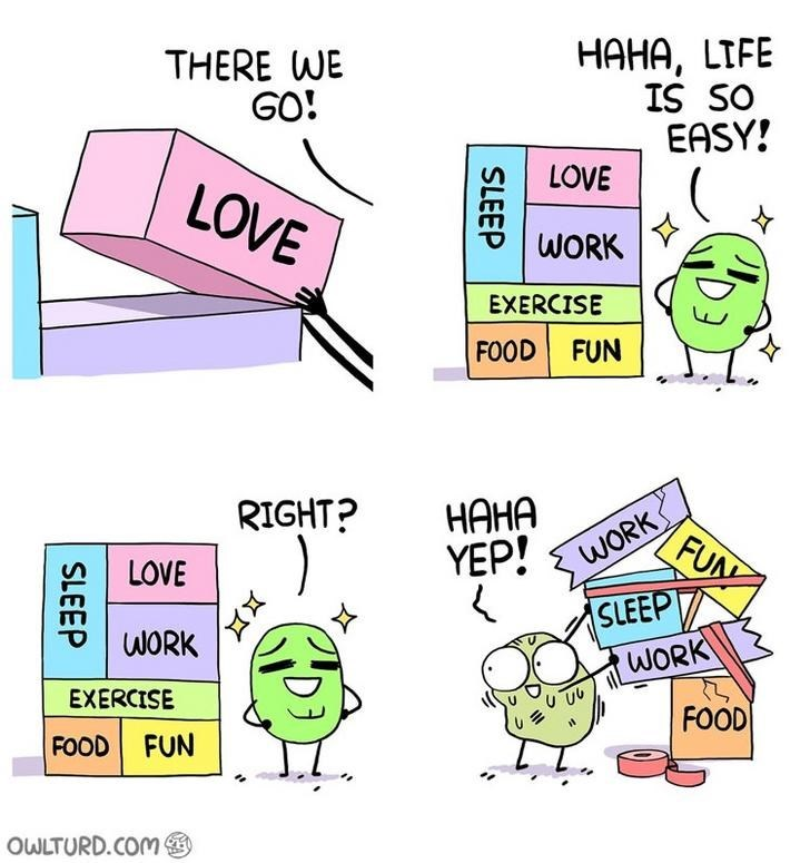 webcomic - Text - НАНА, LIFE IS SO EASY! THERE WE GO! LOVE LOVE WORK EXERCISE FOOD FUN НАНА YEP! RIGHT? FUN WORK LOVE SLEEP WORK WORK EXERCISE FOOD FOOD FUN OWLTURD.COM SLEEP SLEEP
