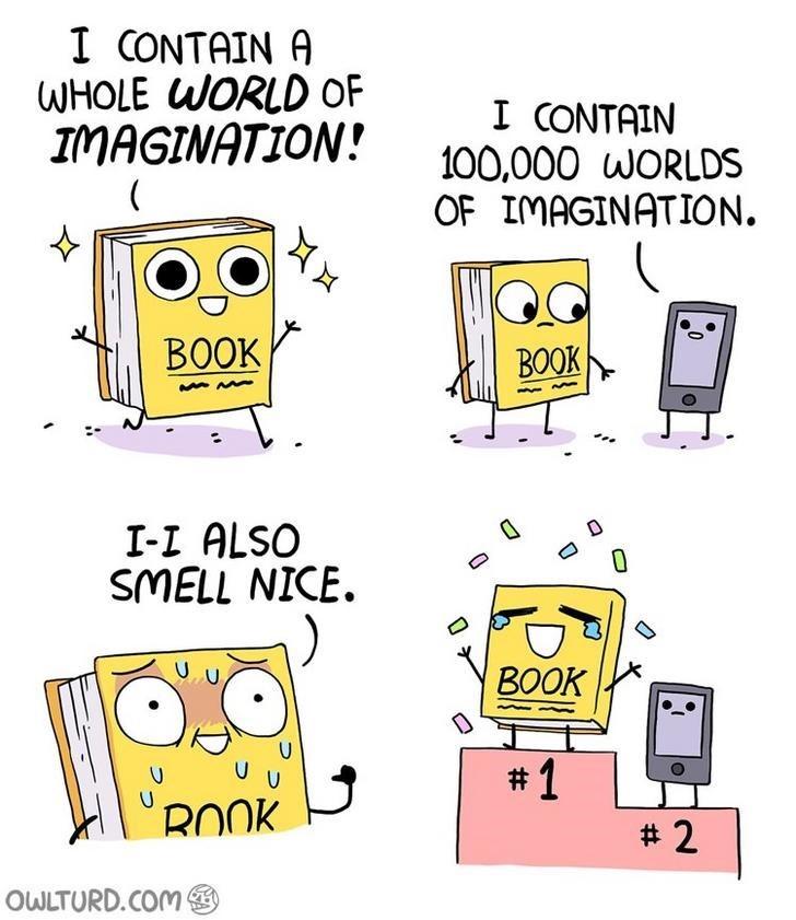 webcomic - Yellow - I CONTAIN A WHOLE WORLD OF IMAGINATION! I CONTAIN 100,000 WORLDS OF IMAGINATION ВОOK ВООK I-I ALSO SMELL NICE. BOOK U U #1 ROOK #2 OWLTURD.COM