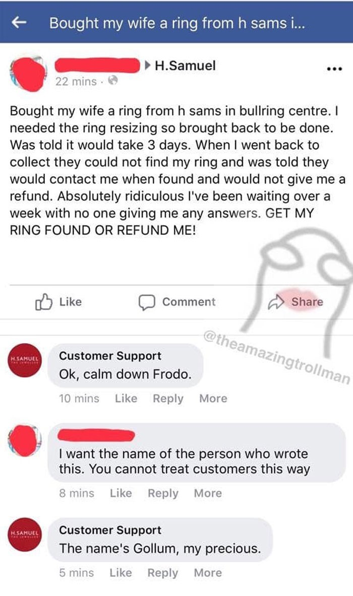 Funny troll posts from fake customer service account.