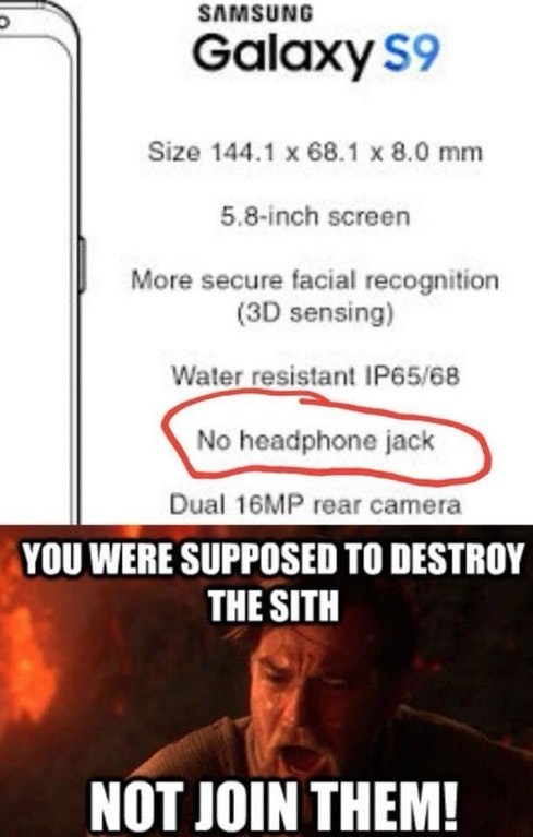 Funny meme about Samsung getting rid of their headphone jack.