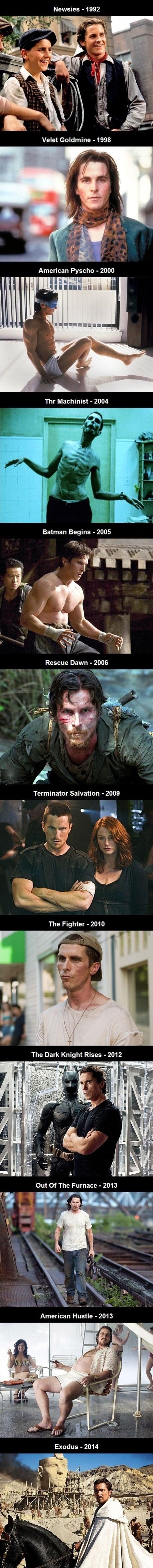 los cambios de cuerpo de Christian Bale segun su pelicula