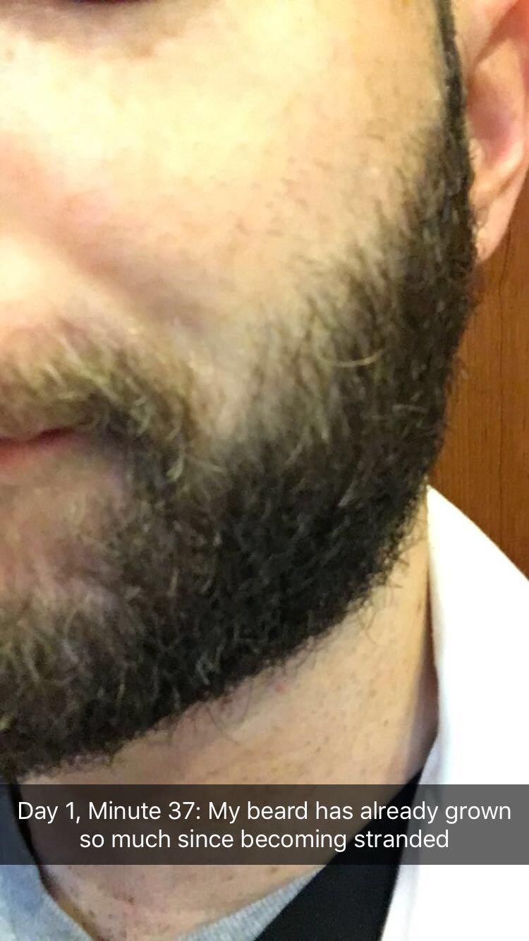 Facial hair - Day 1, Minute 37: My beard has already grown so much since becoming stranded