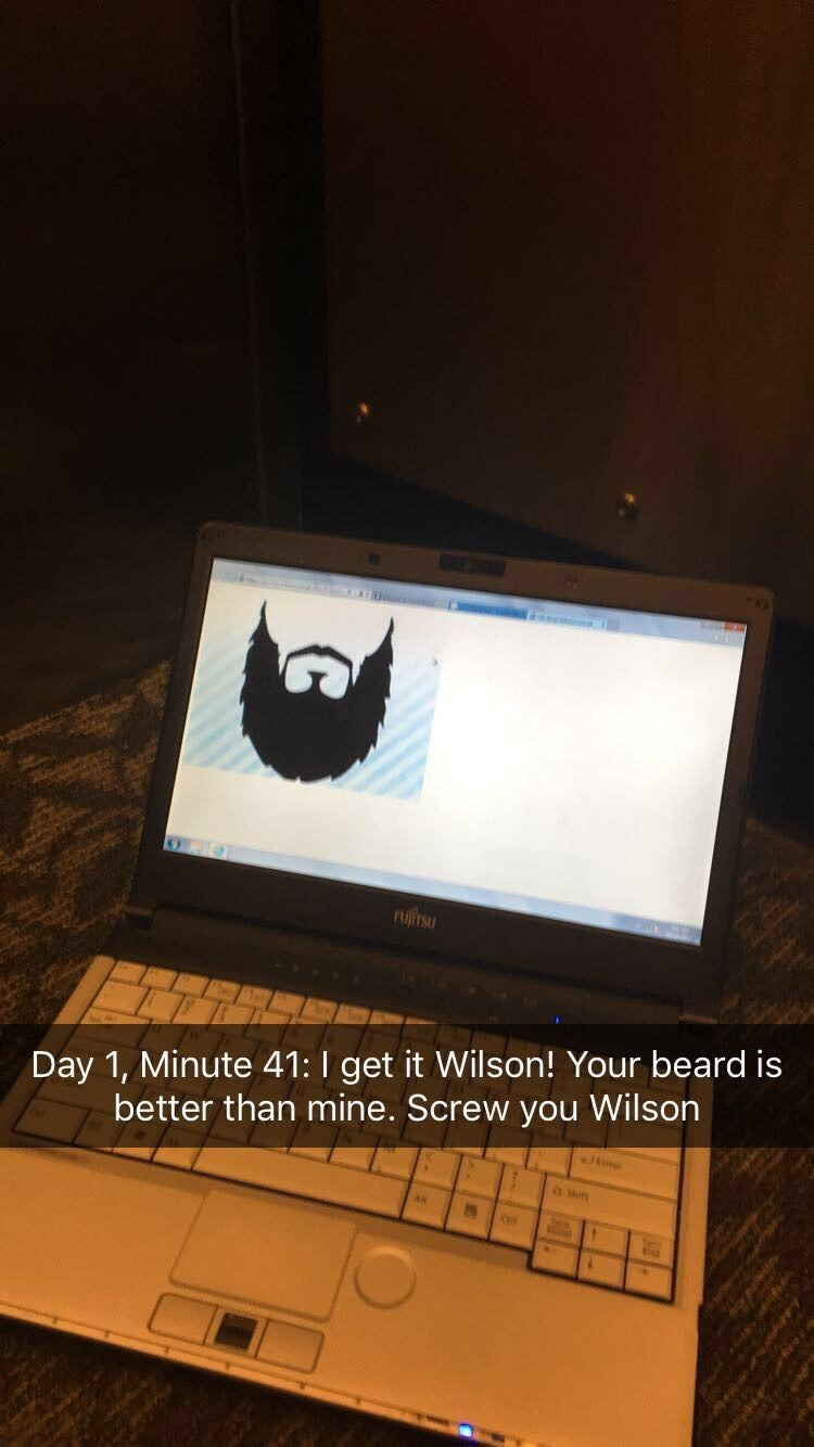 Computer monitor - FUJITSU Day 1, Minute 41: I get it Wilson! Your beard is better than mine. Screw you Wilson