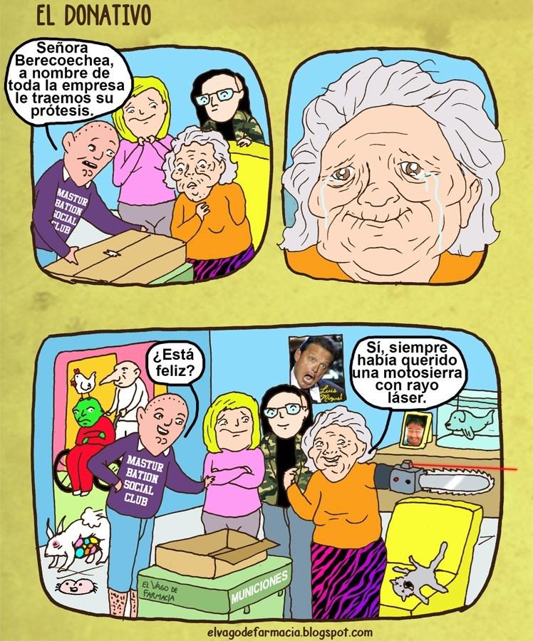chicos le dan una protesis a una abuela