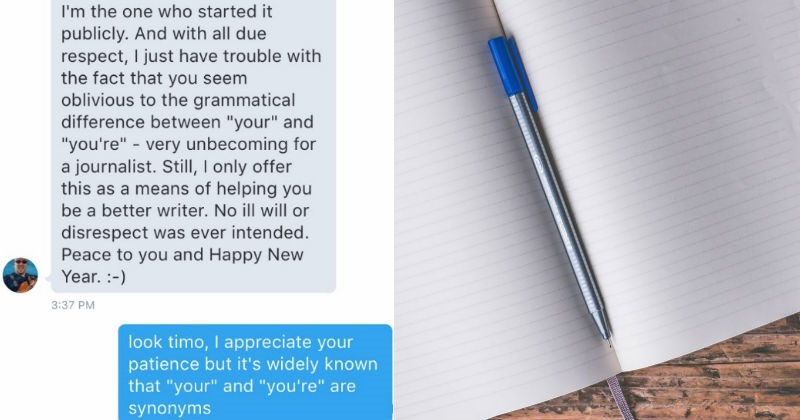 Guy gives woman a grammar lesson because of a typo, so she claps back with fake grammar rules.