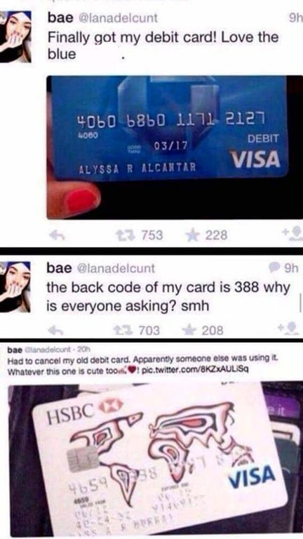 Funny meme about girl posting pic of her card on twitter.