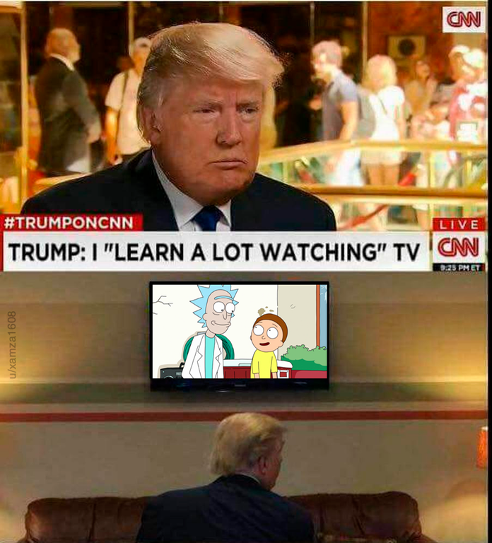Funny meme about Donald Trump watching Rick and Morty.