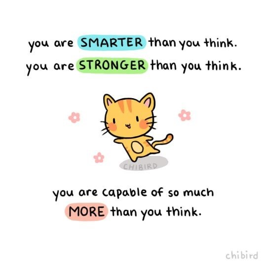 Text - you are SMARTER than you think you are STRONGER than you thin k. CHIBIRD you are capable of so much MORE than you think. chibird