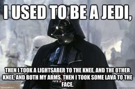 Skyrim meme about Darth Vader's injuries in Star Wars Revenge of the Sith