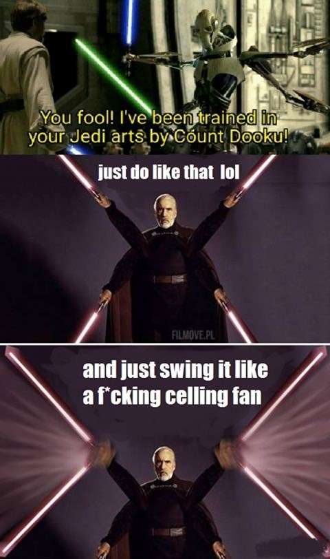 joke about how Count Dooku trained General Grievous in lightsaber fighting