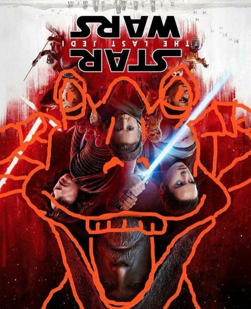Star Wars The Last Jedi movie poster turned upside down to reveal Jar Jar Binks face
