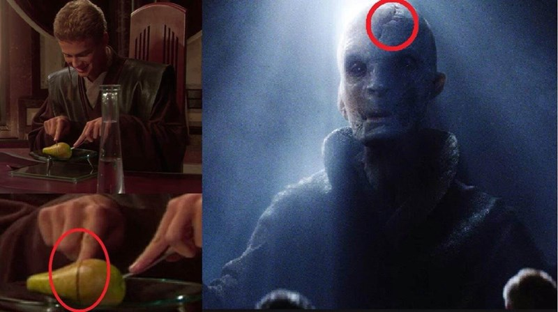 Snoke's origins meme about him being the pear Anakin sliced in Attack of the Clones