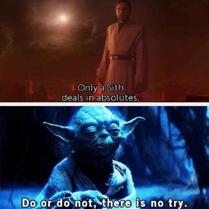 joke about Yoda dealing in absolutes suggesting he is a Sith