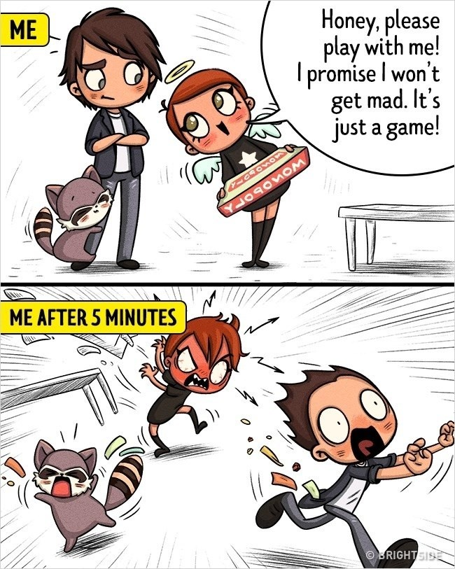 Cartoon - ME Honey, please play with me! promise I won't get mad. It's just a game! YLOAOEOM MEAFTER 5 MINUTES RIGHTSIS