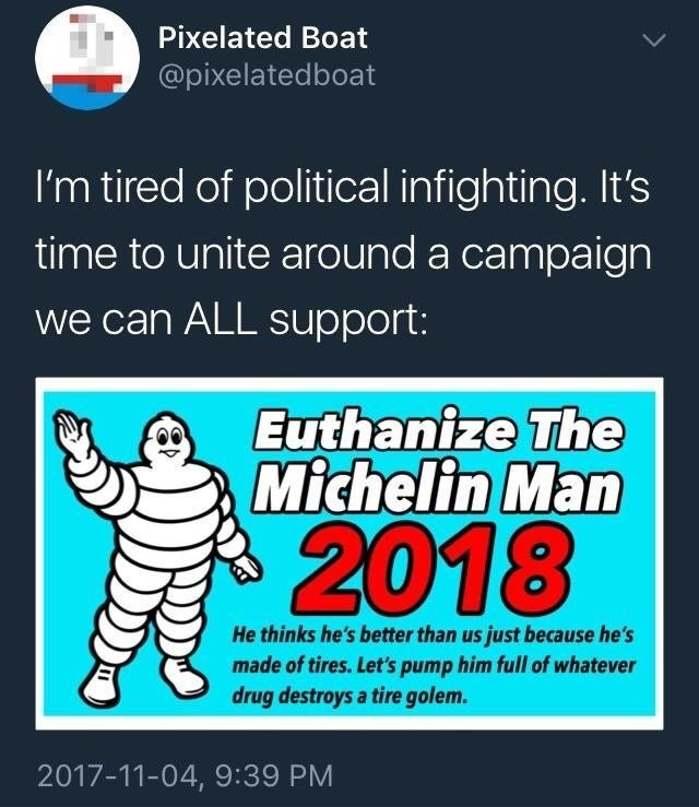 Funny meme about euthanizing the Michelin man.