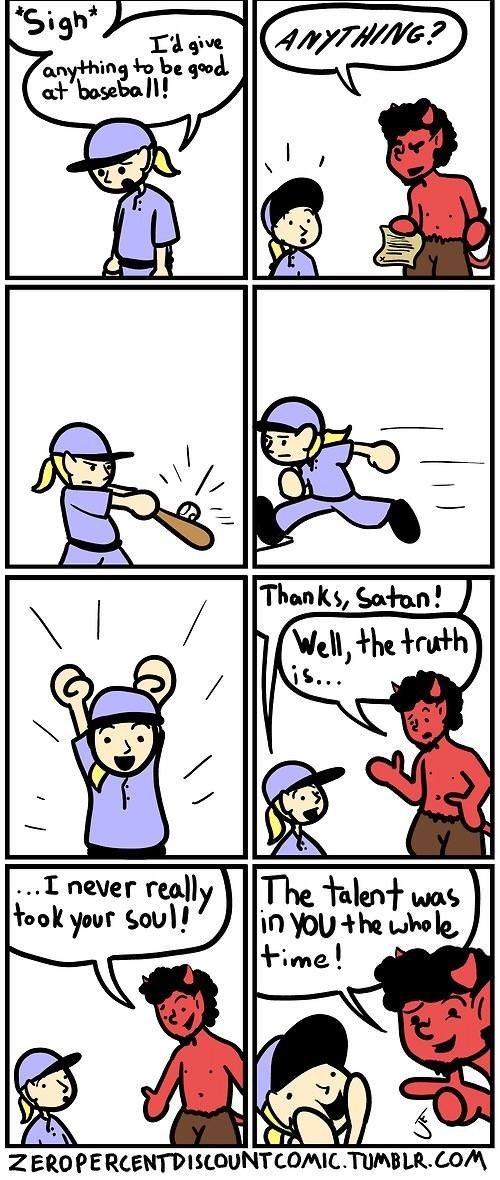 comic about inspirational Satan tricking people into thinking they sold their souls to him