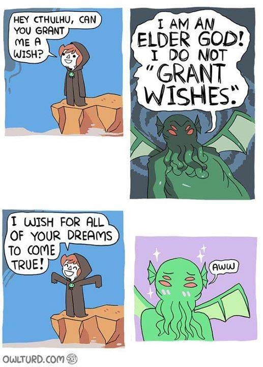 comic about making a wish for Cthulhu to be happy