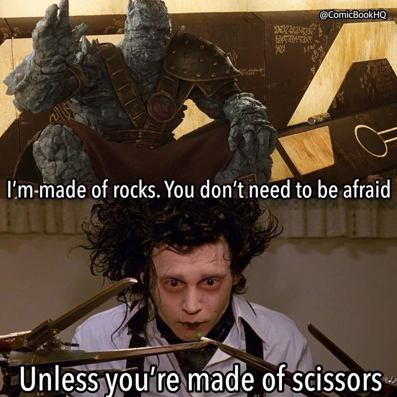 Photo caption - @ComicBookHQ ESAEE I'm-made of rocks. You don't need to be afraid Unless you're made of scissors
