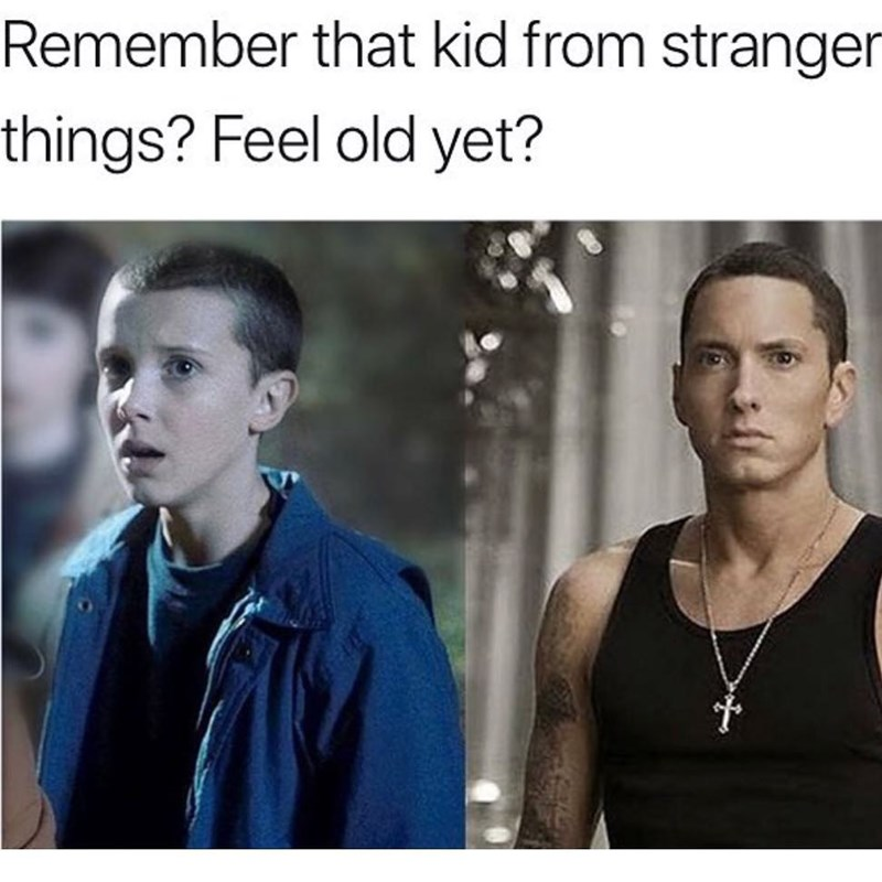 Funny meme comparing eleven from stranger things to eminem.