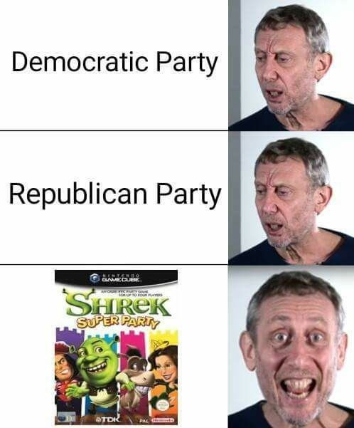 Funny meme about preferring Shrek Super Party game to Democratic party and republican party.
