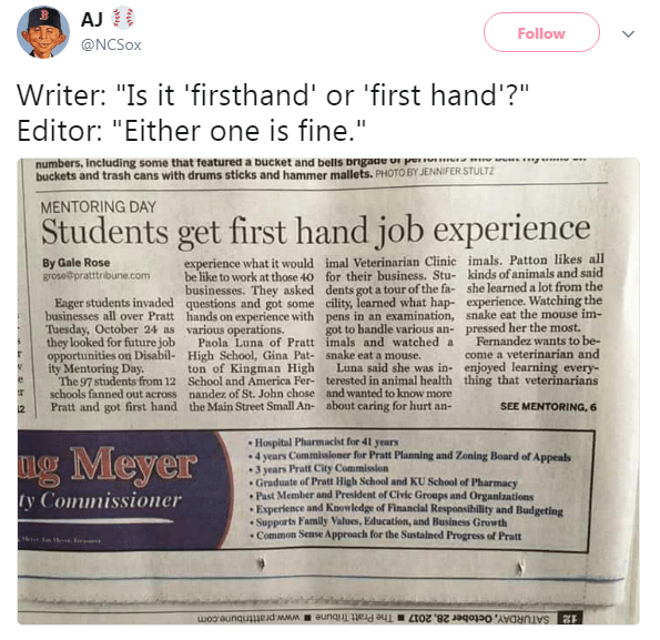 Funny meme about publishing first hand job instead of firsthand job.
