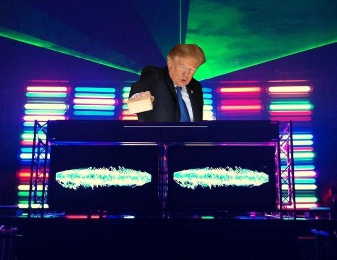 Trump meme of him DJing in a club