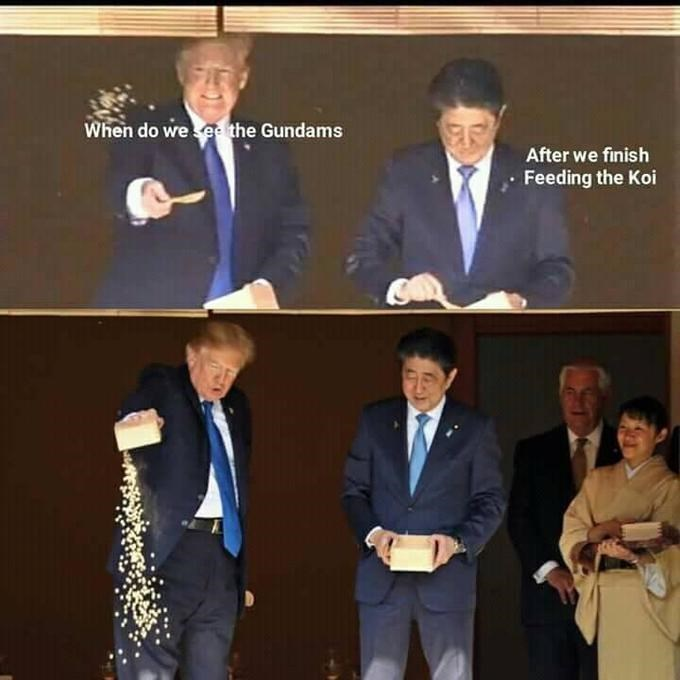 Trump meme about hurrying to feed the fish so he can see the mecha robots