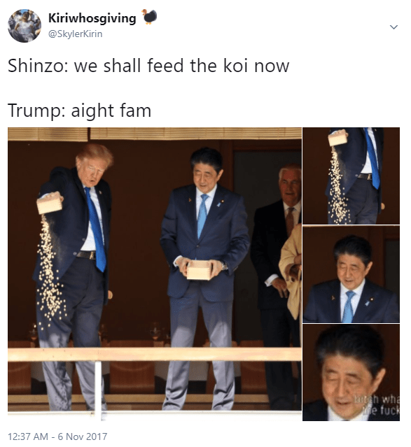 Trump meme of him feeding fish with the Japanese prime minister
