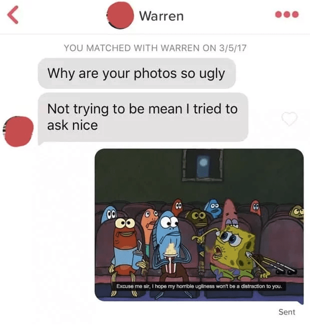 Text - Warren YOU MATCHED WITH WARREN ON 3/5/17 Why are your photos so ugly Not trying to be mean I tried to ask nice GG CO CO Excuse me sir, I hope my homible ugliness won't be a distraction to you Sent