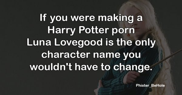 Text - If you were making a Harry Potter porn Luna Lovegood is the only character name you wouldn't have to change. Phister BeHole