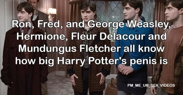 Font - Ron, Fred, and George Weasley, Hermione, Fleur Delacour and Mundungus Fletcher all know how big Harry Potter's penis is PM ME UR SEX_VIDEOS