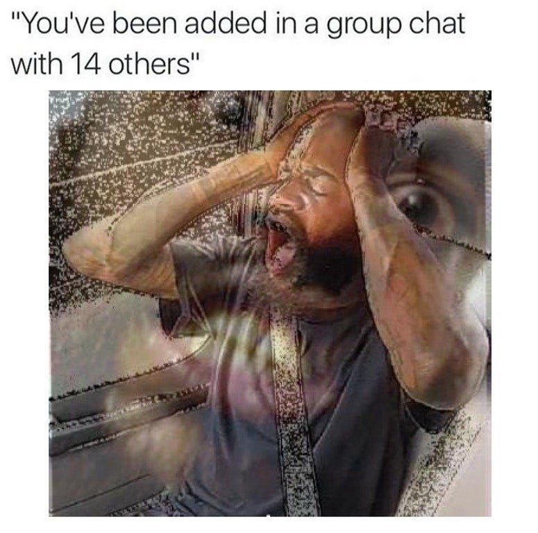 Funny meme about being added to a group chat.