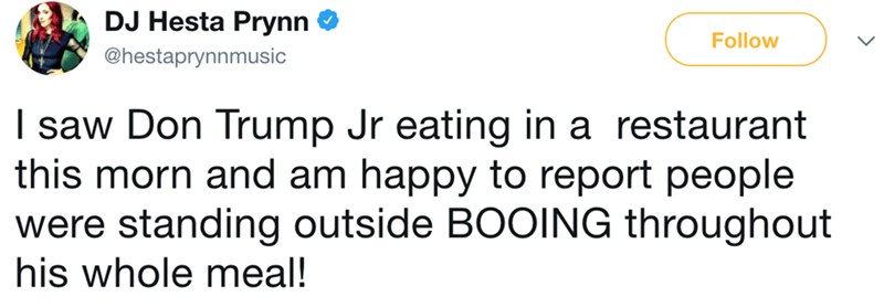 Text - DJ Hesta Prynn Follow @hestaprynnmusic I saw Don Trump Jr eating in a restaurant this morn and am happy to report people were standing outside BOOING throughout his whole meal!