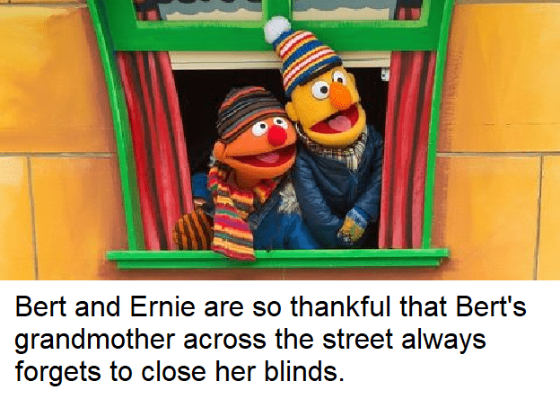 dank sesame - Cartoon - Bert and Ernie are so thankful that Bert's grandmother across the street always forgets to close her blinds.