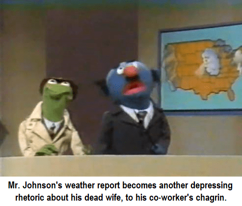 dank sesame - Cartoon - Mr. Johnson's weather report becomes another depressing rhetoric about his dead wife, to his co-worker's chagrin.