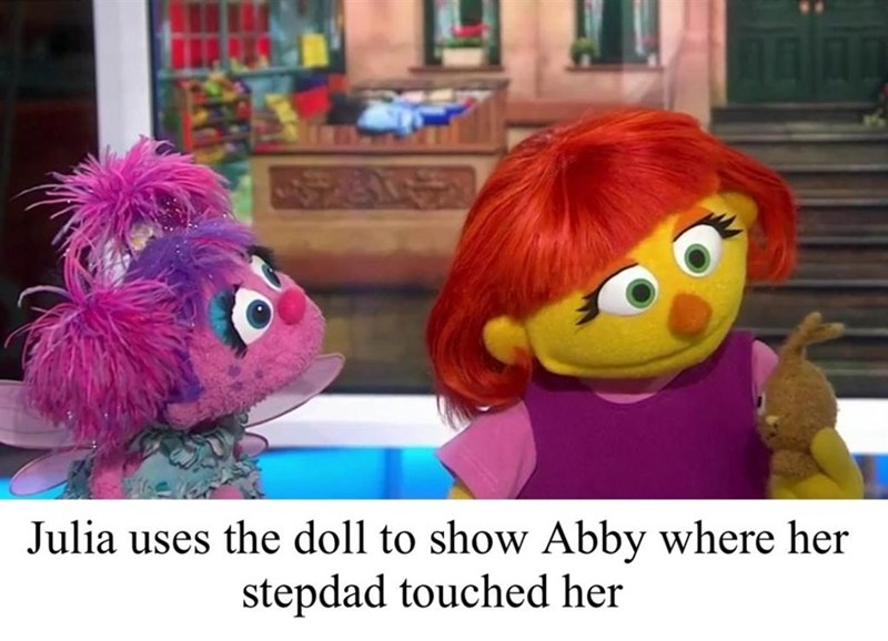 dank sesame - Stuffed toy - Julia uses the doll to show Abby where her stepdad touched her
