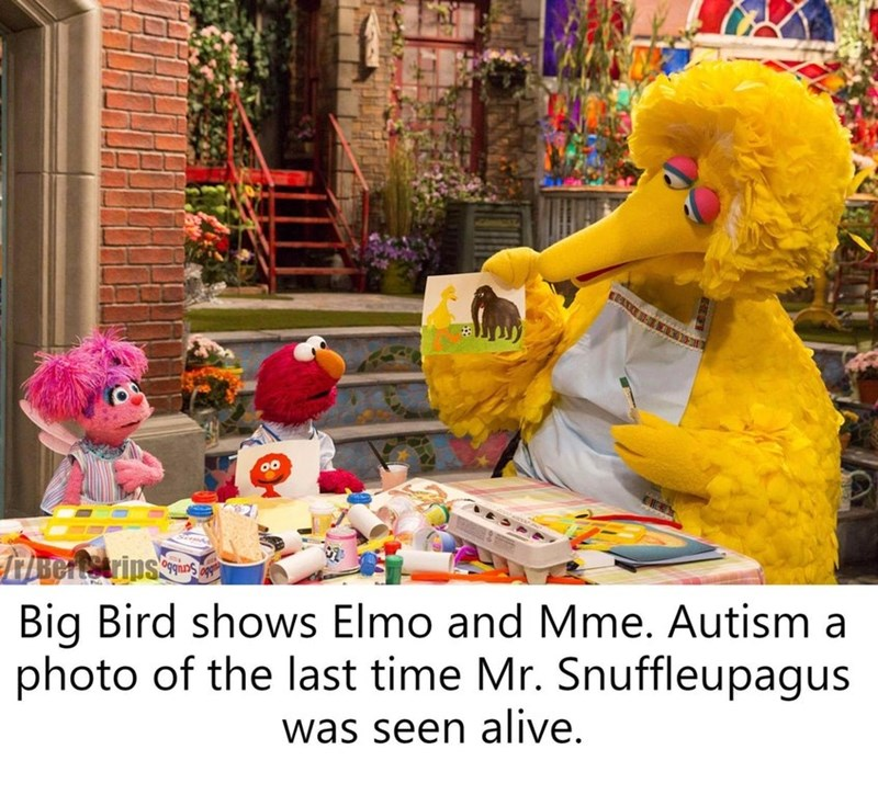 dank sesame - Yellow - Big Bird shows Elmo and Mme. Autism a photo of the last time Mr. Snuffleupagus was seen alive.