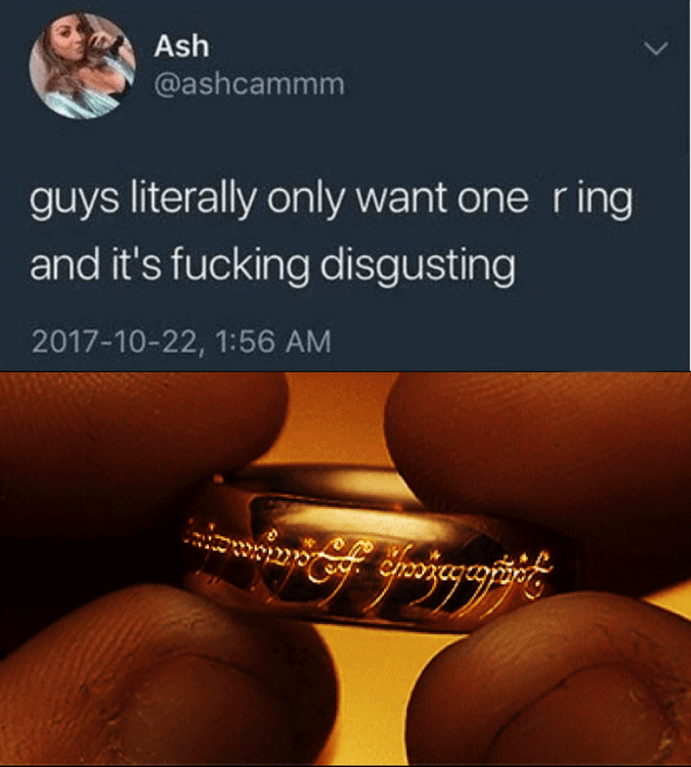 Photoshopped meme of Guys Literally Only Want One Ring and It's Fucking disgusting with picture of golden ring