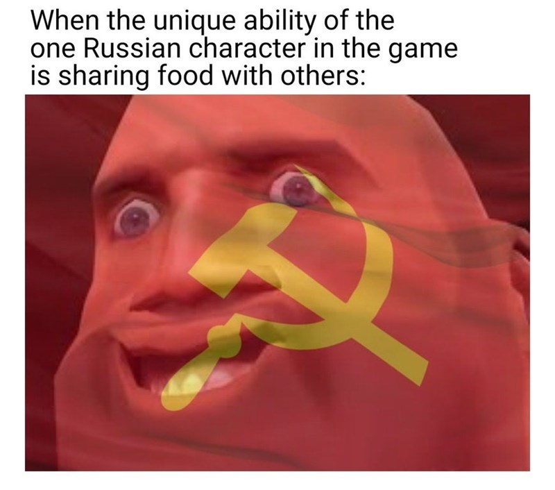 Soviet communism meme of a russian character in the game having the unique ability to share food with others