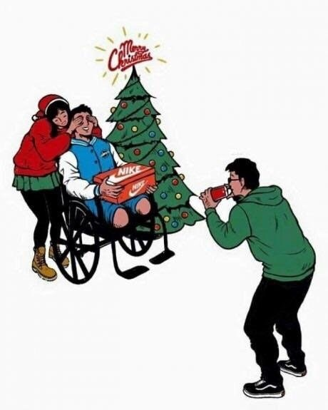 dank meme of kid in a wheelchair with no legs geting a new pair of Nike's for Christmas