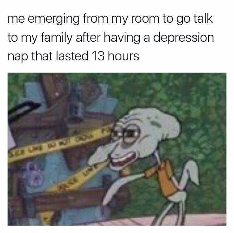 meme of talking to family after 13 hour depression nap