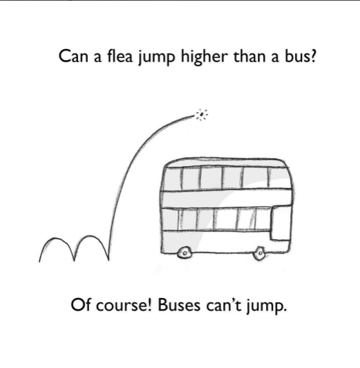 Motor vehicle - Can a flea jump higher than a bus? Of course! Buses can't jump.