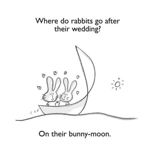 Text - Where do rabbits go after their wedding? On their bunny-moon.