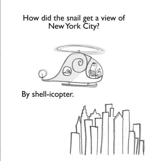 Text - How did the snail get a view of New York City? By shell-icopter. AriTis