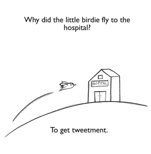 Text - Why did the little birdie fly to the hospital? HoS PITAL To get tweetment.